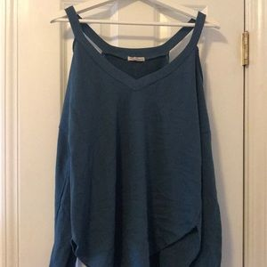 Teal cold-shoulder sweatshirt
